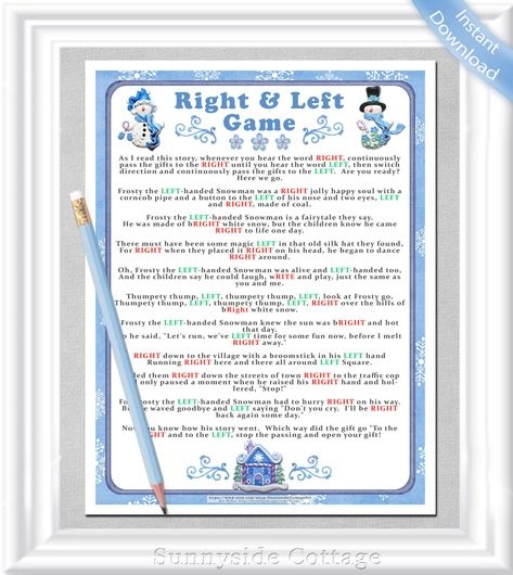 winter right and left storygame instant download winter or christmas party game