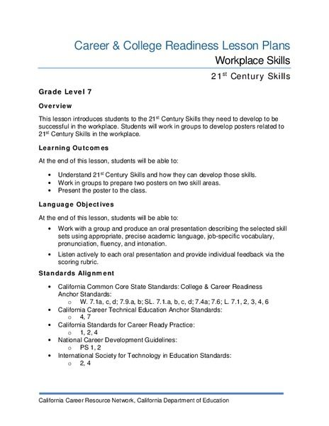 Workplace Skills Lesson Plan How To Plan Lesson Workplace