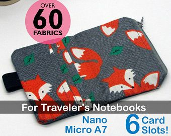 Travelers Notebook Zipper Pouch Nano and Micro WLT Green Red Floral