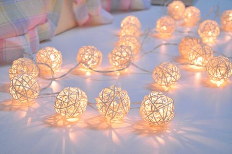 White Rattan ball string lights for PatioWeddingParty and by ginew, $12.99