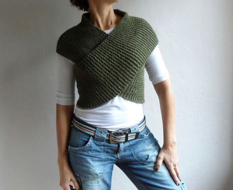 Knit Army Green Vest Cross Sweater Scarf Cowl Hood Wrap Capelet Neckwarmer Top Gift for Women Gift for her Winter Fashion