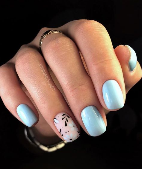 130+ Beautiful Manicure Nails For Short Nails Design Ideas -Square & Almond Nails -