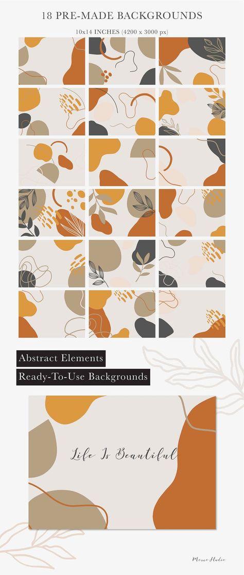 ABSTRACT Geometric Shapes Clipart Organic Shape Background Wedding Invitation Clipart Nursery Clipart Burnt Orange Poster Art diy /B22-01