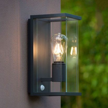 Lucide Claire Half Lantern Outdoor Wall Light With Pir Sensor