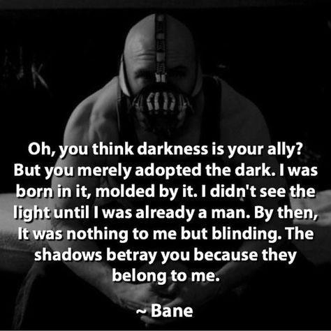 My favorite quote from the Dark Knight Rises. Comment yours #batman #bane by devilzsmile.com #devilzsmile