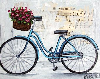 Blue Bicycle Bike Flower Basket Mixed Media Vintage Music