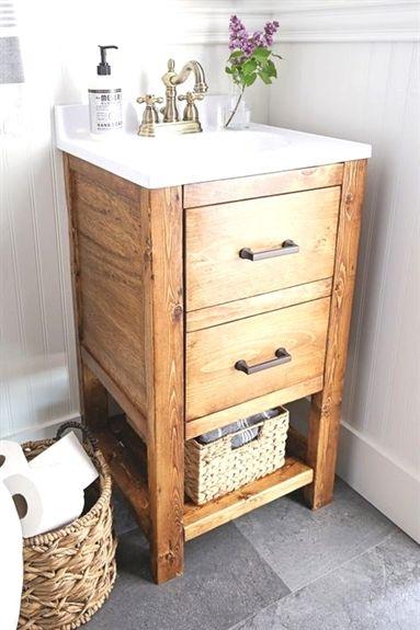 How To Build A Diy Bathroom Vanity For 65 This Diy Rustic Bathroom Vanity Works Great In Small Bathrooms Adds Extra Storage Is Budget F Bathroom Cabinets Diy
