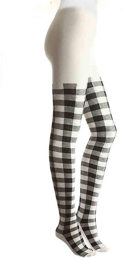 Buffalo Plaid Black Womens Knee High Socks Winter Warm Boot Socks Tube Stockings
