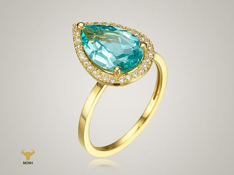 14K Gold Blue Paraiba Gemstone Ring with Halo Natural Sparkling Diamonds