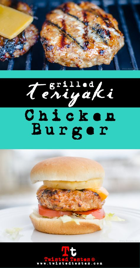 TERIYAKI CHICKEN BURGER: Our version of Red Robin's Bonsai Burger. The ground chicken is basted with tasty teriyaki sauce, cooked on the grill, and topped with cheddar cheese, tomato, shredded lettuce, and sliced pineapple.