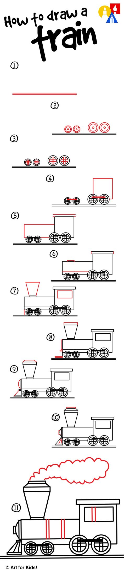 Easy steps on how to draw a train! Watch our short video and follow along to draw your own.