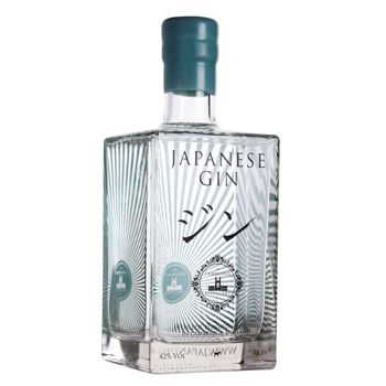 Japanese Gin. This branding combines english with japanese like a lot of popular products in Japan. The idea of using clear glass with a deep pastel colour is very appealing.