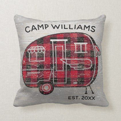 Camper Rustic Red Buffalo Plaid Monogram Holiday Throw Pillow Zazzle Com Holiday Throw Pillow Plaid Monogram Throw Pillows