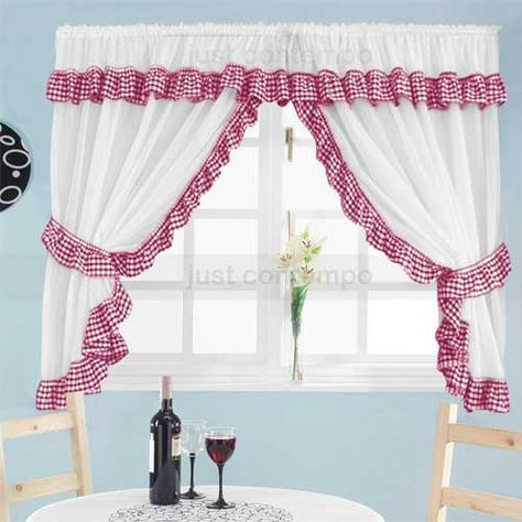 Red Gingham Kitchen Curtains With Images White Kitchen
