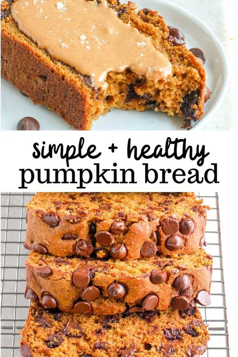 Healthy Pumpkin Bread A classic pumpkin bread, made healthier! This version of my pumpkin bread uses white whole wheat flour as a base and is lightly sweetened with maple syrup. It's completely dairy free, nut free, and refined sugar free. Nut Free, Dairy Free, Healthy Pumpkin Bread, Gluten Free Pumpkin Bread, Diabetic Pumpkin Bread Recipe, Whole Wheat Pumpkin Bread Recipe, Healthy Pumpkin Recipes, Pumpkin Foods, Pumpkin Banana Bread