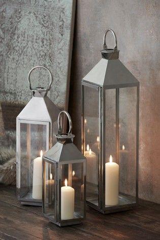 Medium Chrome Lantern In 2020 Large Candle Lanterns Silver