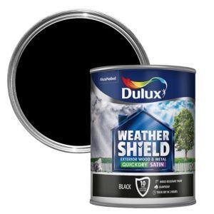 Dulux Weathershield Black Satin Wood Metal Paint 0 75l Dulux Weathershield Painting On Wood Painted Garden Furniture