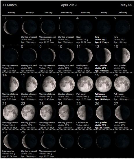 Lunar Calendar For April 2019 Printable Pdf Blank Download Moon
