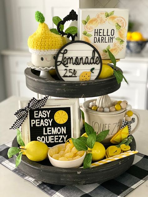 I'm sure you've all been thinking to yourself, what kind of tray is Andrea going to create for summer? No, I doubt any of you have been t. Lemon Kitchen Decor, Kitchen Tray, Kitchen Dining, Tray Styling, Diy Kit, Tiered Stand, Tray Decor, Easy Peasy, Seasonal Decor
