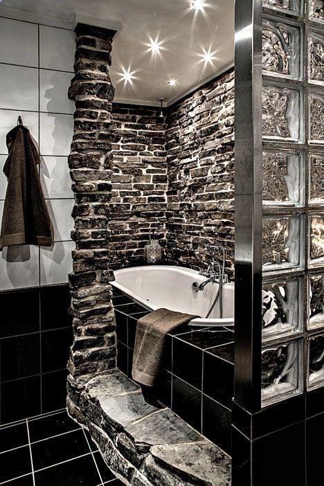 dark interior design bathroom