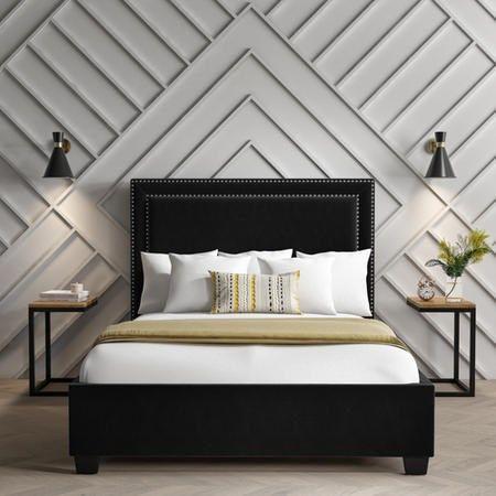 Safina Studded Velvet King Size Ottoman Bed In Black Furniture123 In 2020 King Size Bed Headboard Black Headboard Black Bedroom Furniture