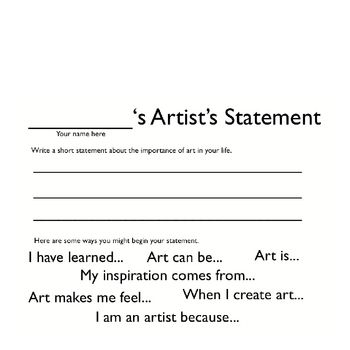 Creating Artist Statements Teaching, Activities and The end - statement form