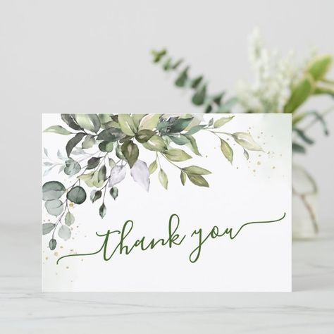 Shop Watercolor Eucalyptus Greenery Thank You Card created by Elle_Design. Diy Note Cards, Cards Diy, Leaf Cards, Stamping Up Cards, Card Patterns, Fall Cards, Watercolor Cards, Sympathy Cards, Paper Cards