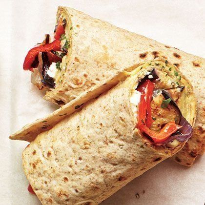 Grilled Veggie and Hummus Wraps by Cooking Light. Make the most of summer's fresh vegetables and grilling by preparing Grilled Veggie and Hummus Wraps to take along on a picnic. Serve up these wraps with a side of potato or pasta salad. Veggie Hummus Wrap, Veggie Wraps, Roasted Veggie Wrap Recipe, Rice Wraps, Hummus Dip, Veggie Food, Vegetarian Recipes, Cooking Recipes, Healthy Recipes