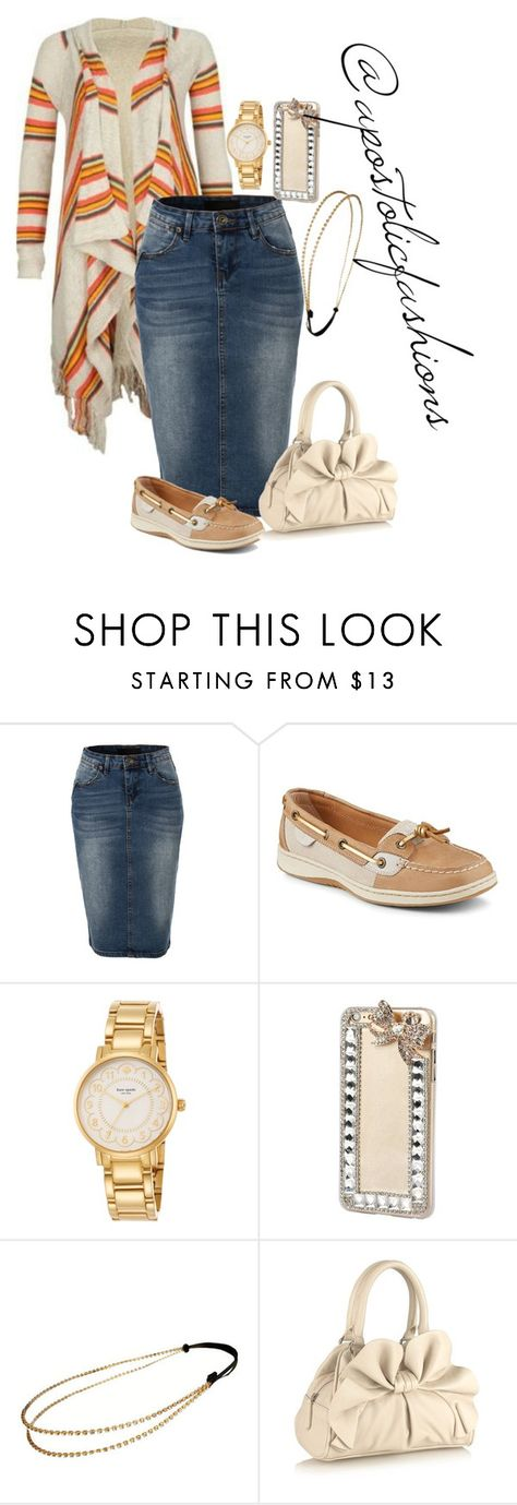 """Apostolic Fashions #1472"" by apostolicfashions on Polyvore featuring LE3NO, Sperry, Kate Spade, Chicnova Fashion, The Collection, modestlykay and modestlywhit"