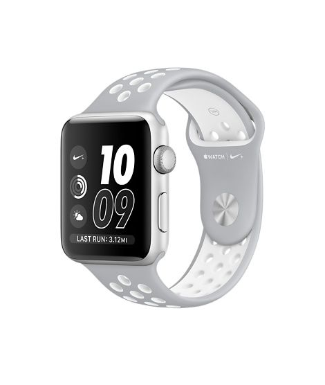 Apple Watch Nike+ (Series 2) -Silver Aluminum Case with Flat Silver/White Nike Sport Band (38mm & 42mm)