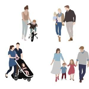 Flat Vector People Pack Family Outdoor Clipart Ai Eps Png Human Person Man Woman Children Illustration Cutout For Visualization Children Illustration People Illustration People Png