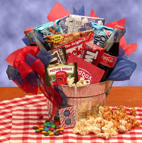 The Blockbuster Night Movie Pail - with 10.00 Redbox Gift Card