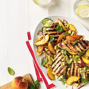 Grilled Chicken with Nectarines, Cucumber, and Corn....i added a nice spring mix salad mix to make this a summer salad:)