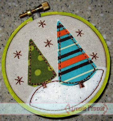 Trees & Snow Applique for Little Hoops Ornament ~ These little designs are fun, easy and make perfect little gifts!  They come in three sizes and include full color, step-by-step instructions.  The designs will fit in 3, 4, and 6 inch hand embroidery hoops (no hand embroidery required!)