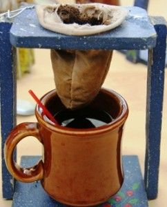 How to make Coffee the Costa Rican way. Thank you, Jime, for my very own traditional 'coffee maker' this could become my new camping coffee!