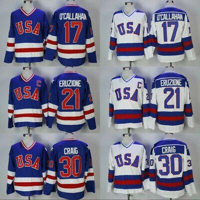 Details About 1980 Usa Hockey Jersey 30 Jim Craig 21 Mike Eruzione 17 Jack O Callahan Custom Team Usa Hockey Usa Hockey Usa Hockey Jersey