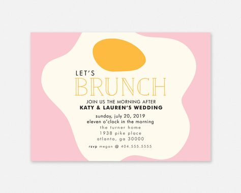 Wedding Brunch Printable Invitation - Affordable Newlywed The Morning After Party Brunch Invitation