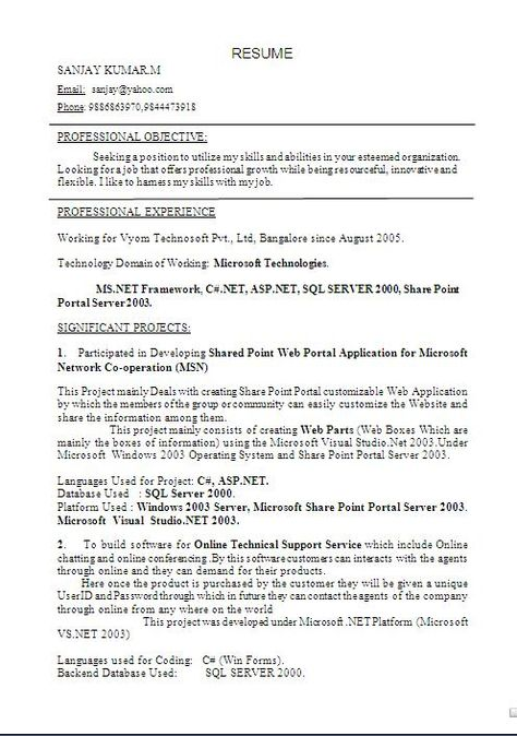 sample resume templates word Sample Template Example ofBeautiful - sql server resume