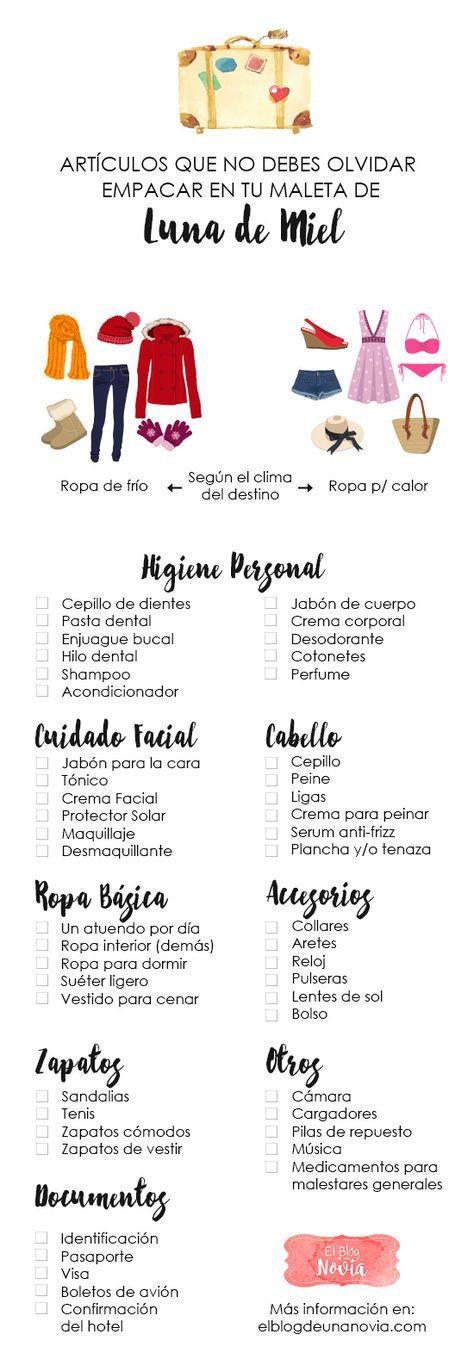 Check-list Maleta de Luna de Miel – Lo que no debes olvidar empacar   El Blog de una Novia   #lunademiel #boda