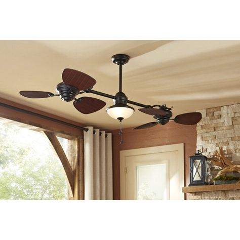 Shop Harbor Breeze Twin Breeze II 74-in Oil Rubbed Bronze Outdoor Downrod Mount Ceiling Fan with Light Kit at Lowes.com