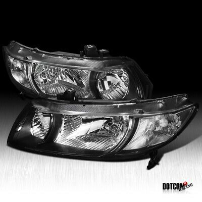 Set of Pair Black Halo Projector Headlights for 2006-2011 Honda Civic 2dr Coupe