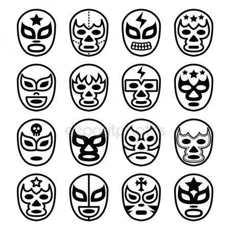 Lucha Libre Mexicana Lucha Libre Mascaras Los Iconos De Linea Negra Lucha Libre Mexicana Mascaras Lucha Libre Mascaras De Luchadores