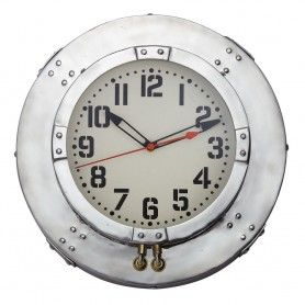 Baltimore Wall Clock Round Aluminum 1930s Brass Burl Clock