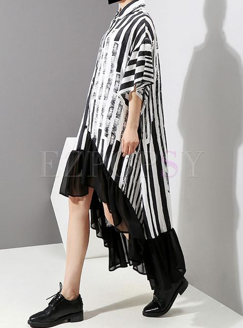 Shop Trendy Striped Asymmetric Chiffon Maxi Dress at EZPOPSY.