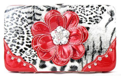 Leopard Pink Flower Clutch Opera Wallet