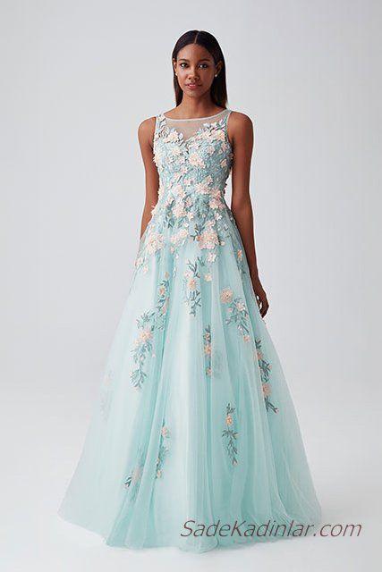 2019 Abiye Elbise Modelleri Su Yesili Uzun Kolsuz Transparan Yaka Nakis Islemeli Moda Stilleri Elbise Bollywood Modasi