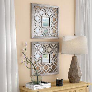 Mistana 2 Piece Uptal Silver Leaf Traditional Wall Mirror Set Reviews Wayfair Wall Mirrors Set Traditional Wall Mirrors Modern Mirror Wall