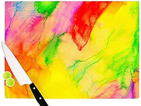 Kess InHouse Julia Grifol Happy Circles Cutting Board 11.5 by 15.75-Inch