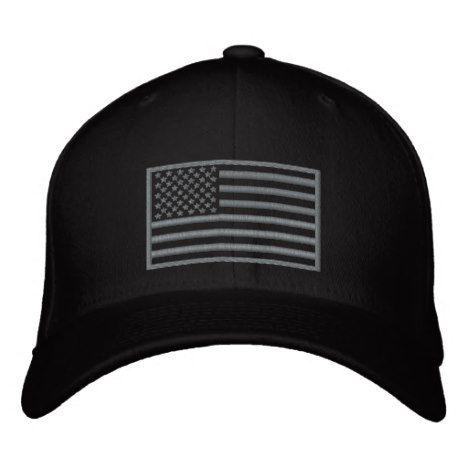 Subdued Colors U S Flag Embroidered Hat Black Zazzle Com Embroidered Hats Embroidered Hats