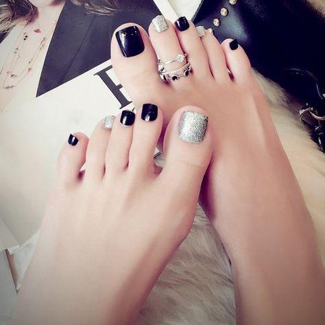 Hot Selling 24 Pcs Set 3d False Toe Full Nail Tips With Glue Lady Girl Toe Art Nails Tool Fake Foot Toenails In 2020 Acrylic Toes Acrylic Toe Nails Pretty Toe Nails
